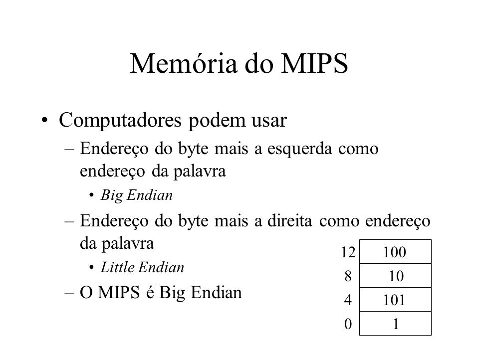 Memória do MIPS Computadores podem usar