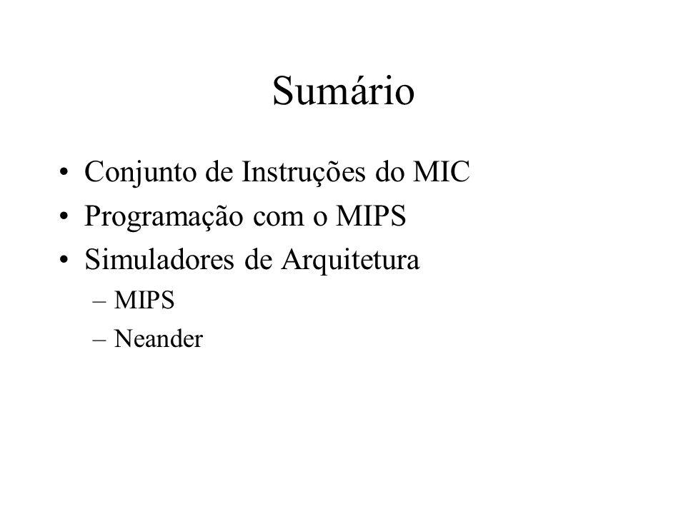Sumário Conjunto de Instruções do MIC Programação com o MIPS