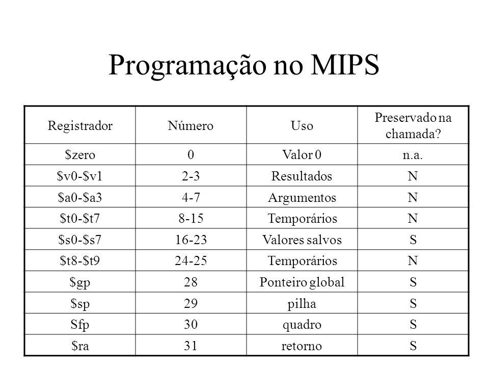 Programação no MIPS Registrador Número Uso Preservado na chamada