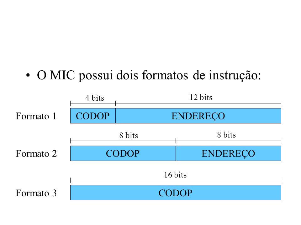O MIC possui dois formatos de instrução: