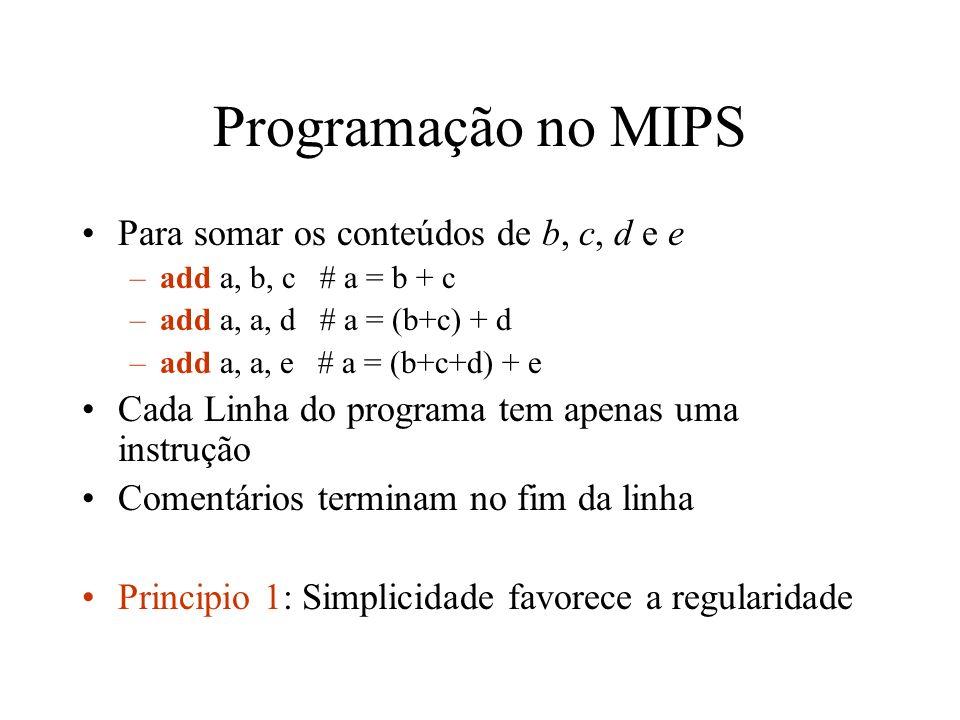 Programação no MIPS Para somar os conteúdos de b, c, d e e