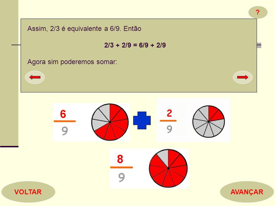 Assim, 2/3 é equivalente a 6/9. Então. 2/3 + 2/9 = 6/9 + 2/9. Agora sim poderemos somar: VOLTAR.