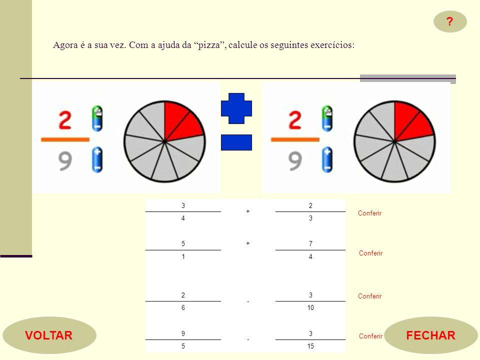 Agora é a sua vez. Com a ajuda da pizza , calcule os seguintes exercícios: 3. + 2. 4. 5.