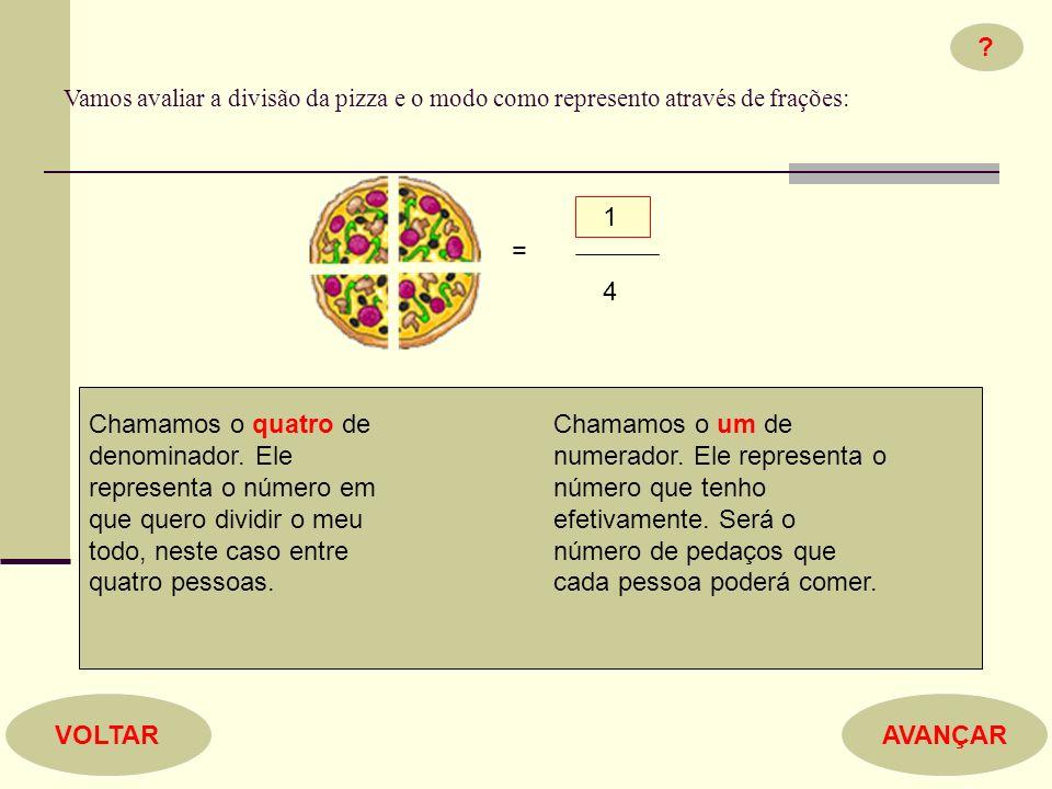Vamos avaliar a divisão da pizza e o modo como represento através de frações: 1. = 4.