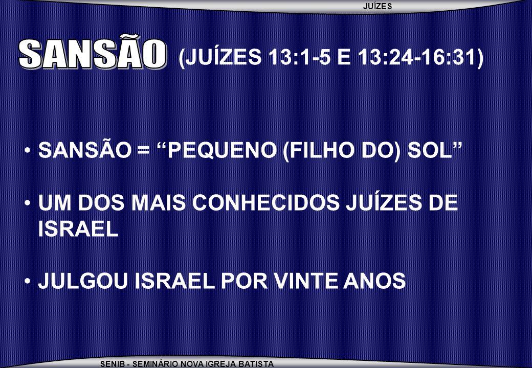 SANSÃO (JUÍZES 13:1-5 E 13:24-16:31) SANSÃO = PEQUENO (FILHO DO) SOL