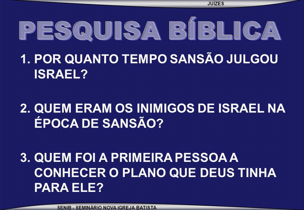 PESQUISA BÍBLICA POR QUANTO TEMPO SANSÃO JULGOU ISRAEL