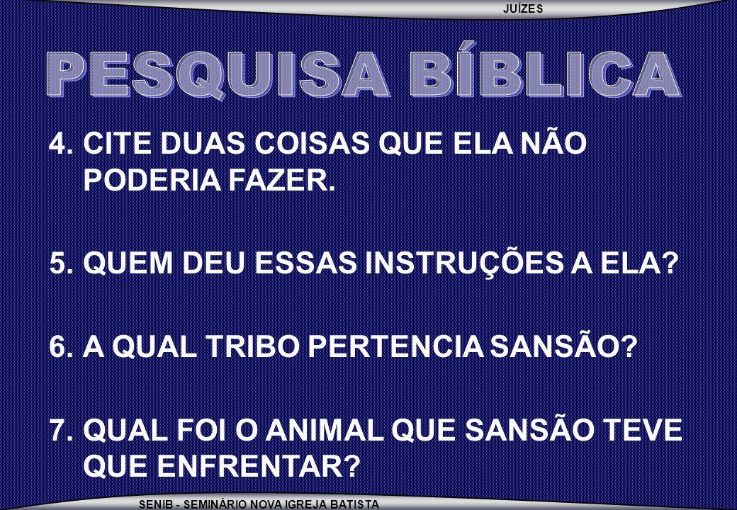 PESQUISA BÍBLICA CITE DUAS COISAS QUE ELA NÃO PODERIA FAZER.