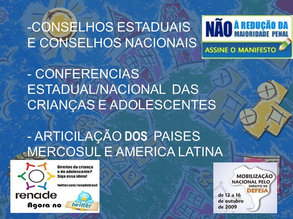 -CONSELHOS ESTADUAIS E CONSELHOS NACIONAIS. - CONFERENCIAS ESTADUAL/NACIONAL DAS CRIANÇAS E ADOLESCENTES.