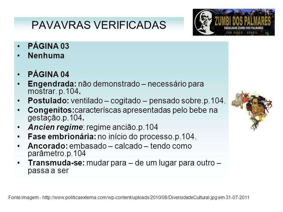 PAVAVRAS VERIFICADAS PÁGINA 03 Nenhuma PÁGINA 04
