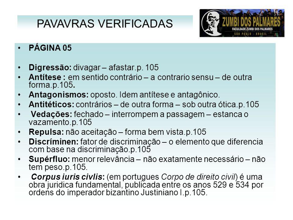 PAVAVRAS VERIFICADAS PÁGINA 05 Digressão: divagar – afastar.p. 105