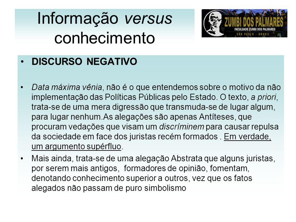 Informação versus conhecimento