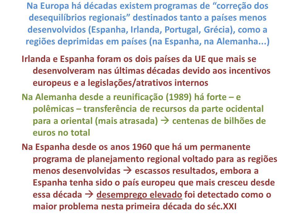 Na Europa há décadas existem programas de correção dos desequilíbrios regionais destinados tanto a países menos desenvolvidos (Espanha, Irlanda, Portugal, Grécia), como a regiões deprimidas em países (na Espanha, na Alemanha...)