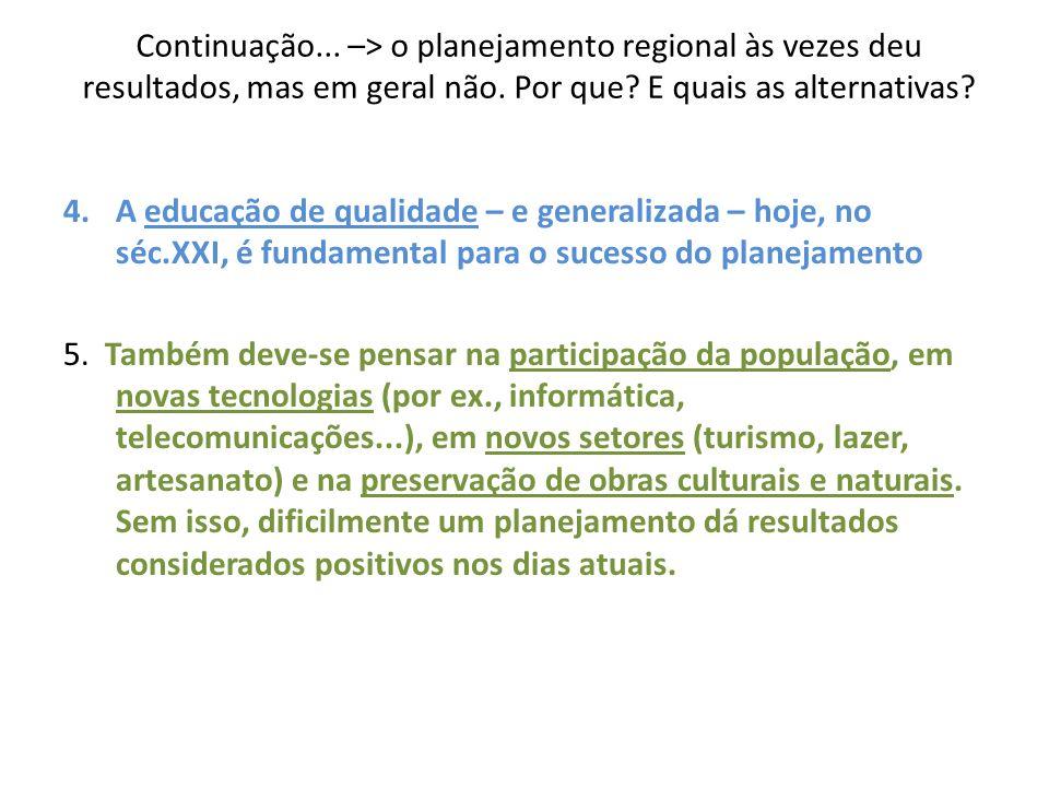 Continuação... –> o planejamento regional às vezes deu resultados, mas em geral não. Por que E quais as alternativas
