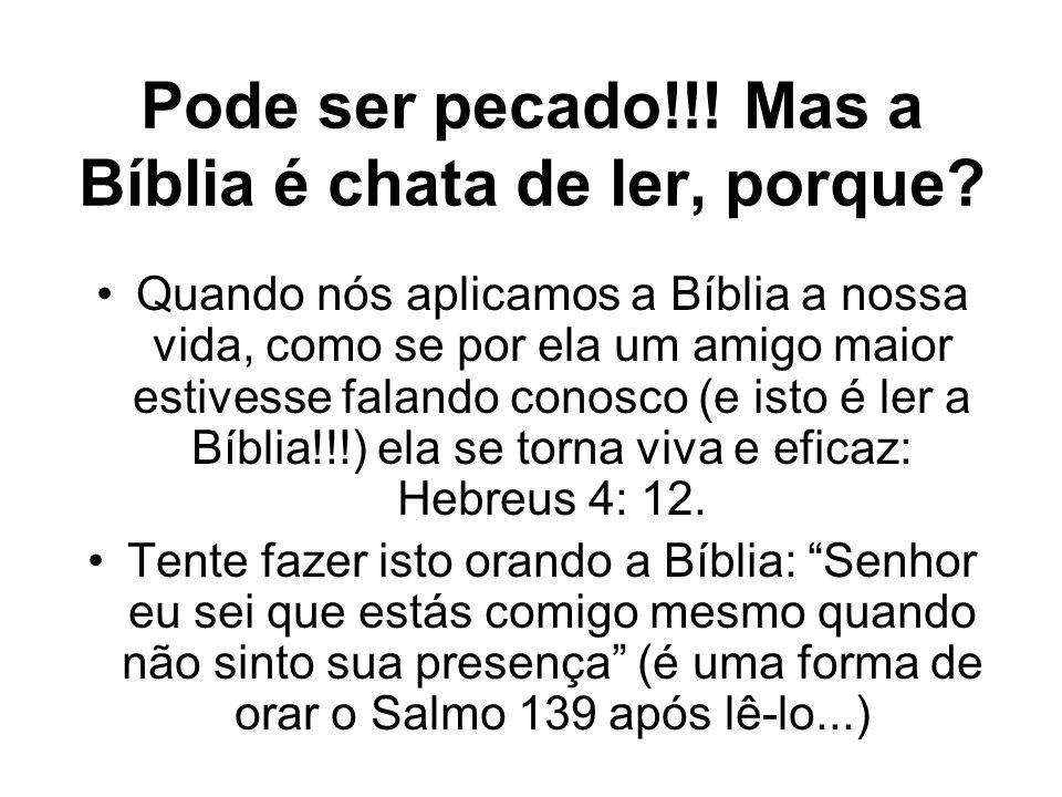 Pode ser pecado!!! Mas a Bíblia é chata de ler, porque