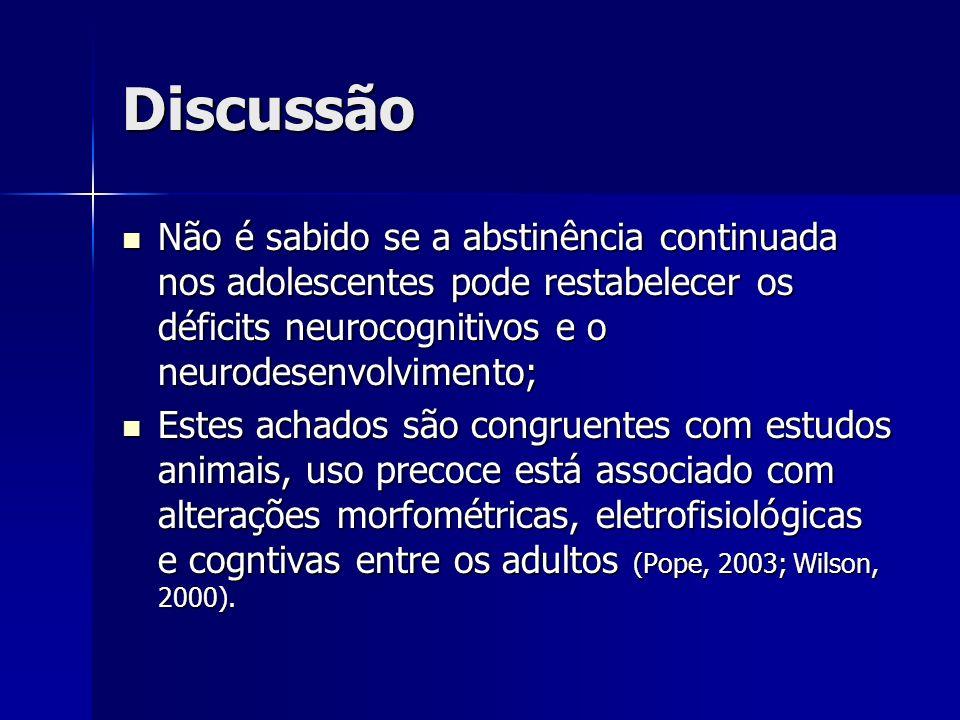 Discussão Não é sabido se a abstinência continuada nos adolescentes pode restabelecer os déficits neurocognitivos e o neurodesenvolvimento;