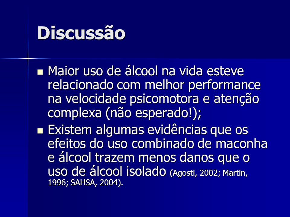 DiscussãoMaior uso de álcool na vida esteve relacionado com melhor performance na velocidade psicomotora e atenção complexa (não esperado!);