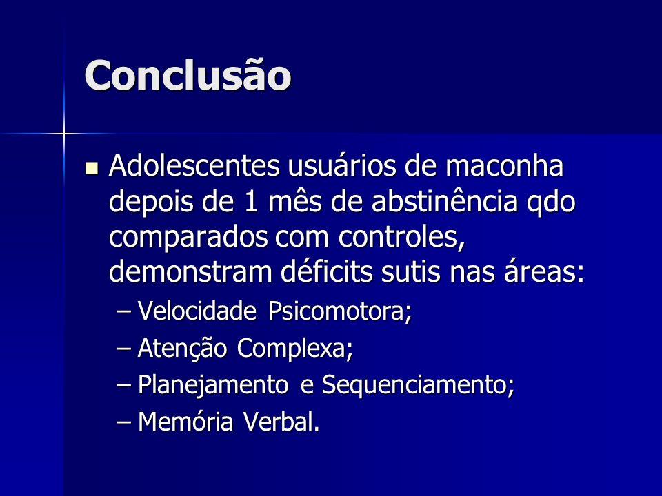 Conclusão Adolescentes usuários de maconha depois de 1 mês de abstinência qdo comparados com controles, demonstram déficits sutis nas áreas: