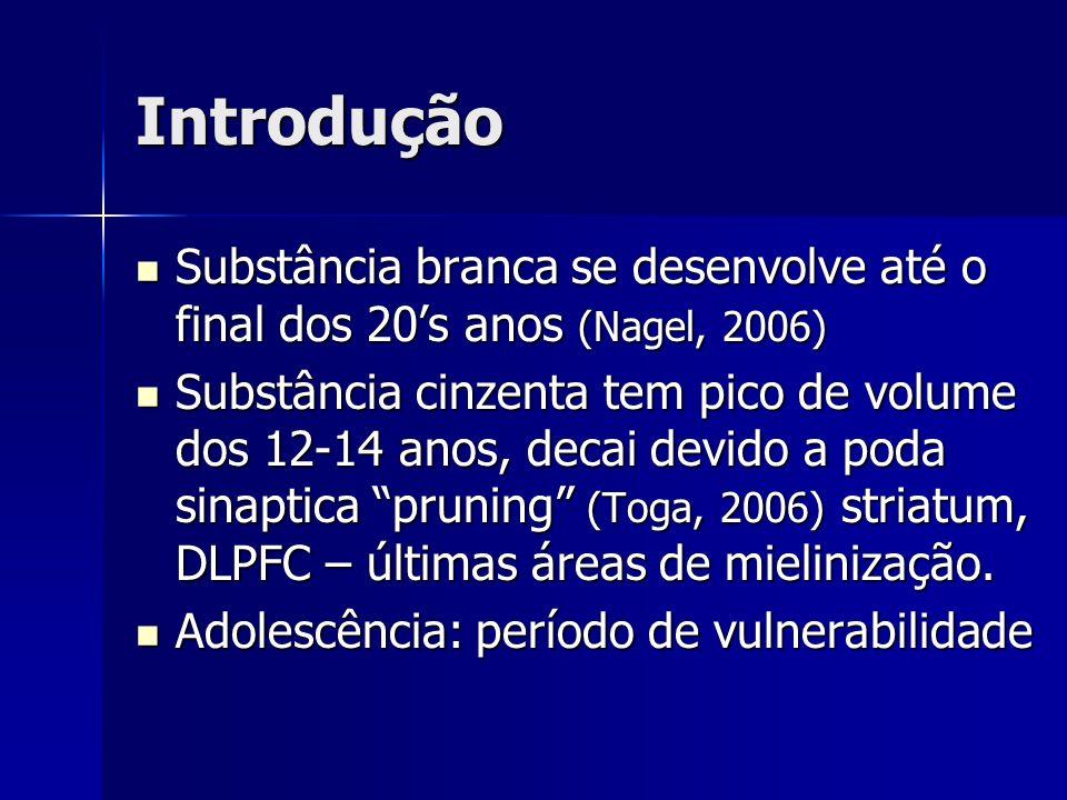Introdução Substância branca se desenvolve até o final dos 20's anos (Nagel, 2006)