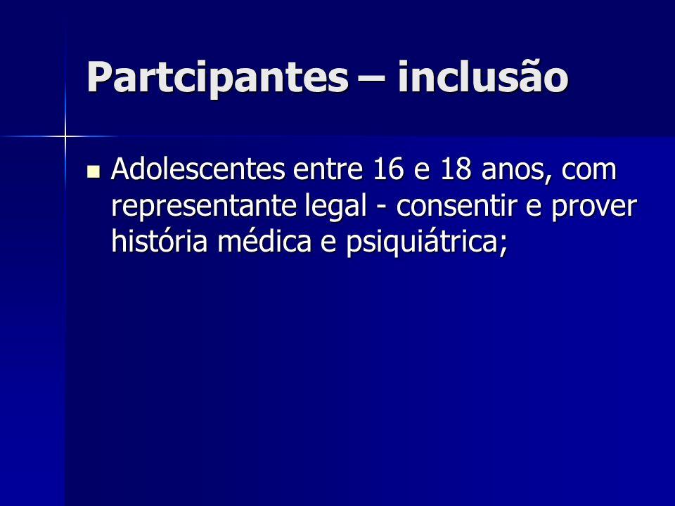 Partcipantes – inclusão