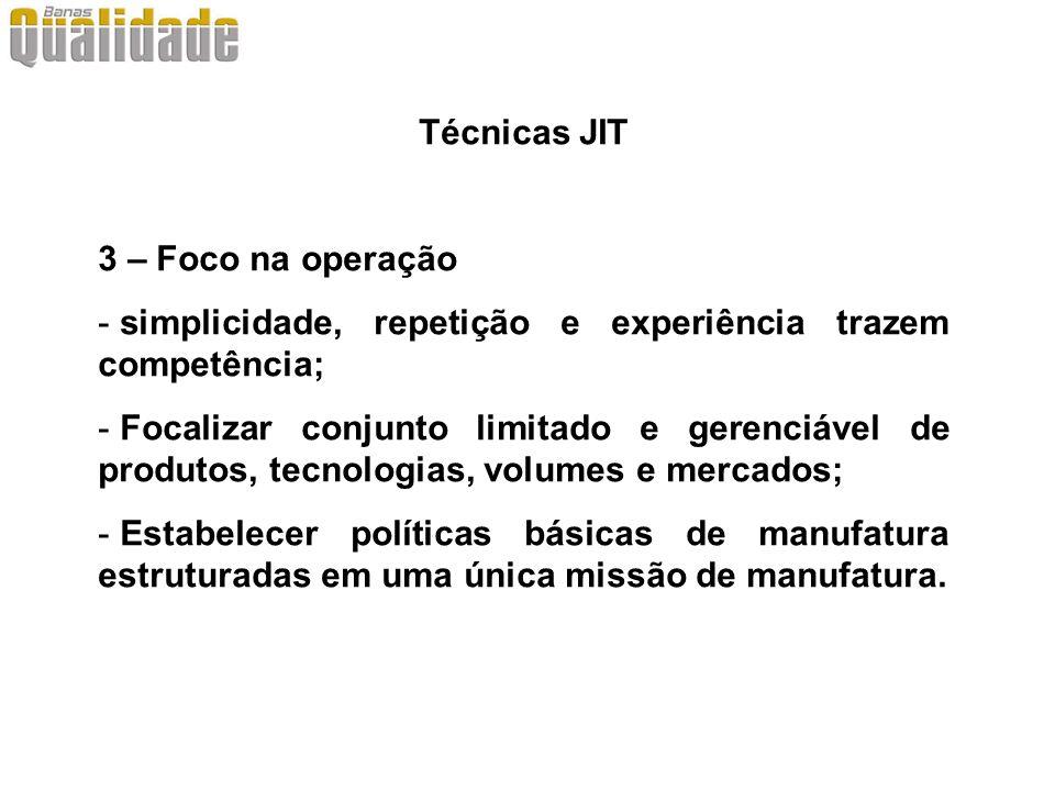 Técnicas JIT 3 – Foco na operação. simplicidade, repetição e experiência trazem competência;