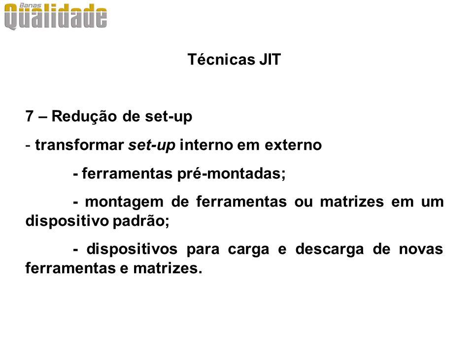 Técnicas JIT 7 – Redução de set-up. transformar set-up interno em externo. - ferramentas pré-montadas;
