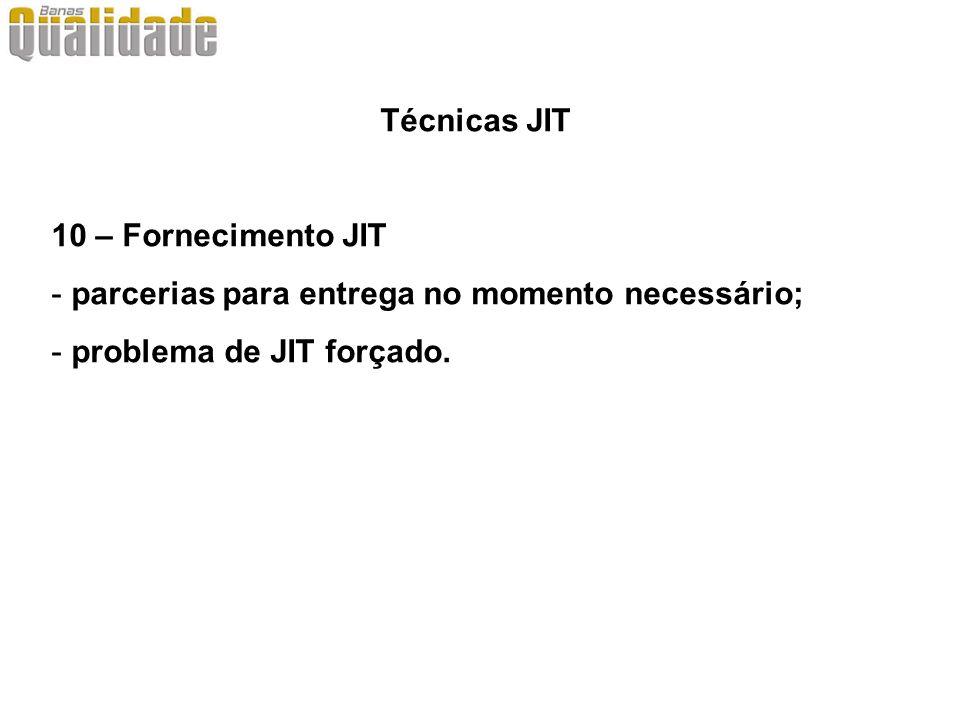 Técnicas JIT 10 – Fornecimento JIT.