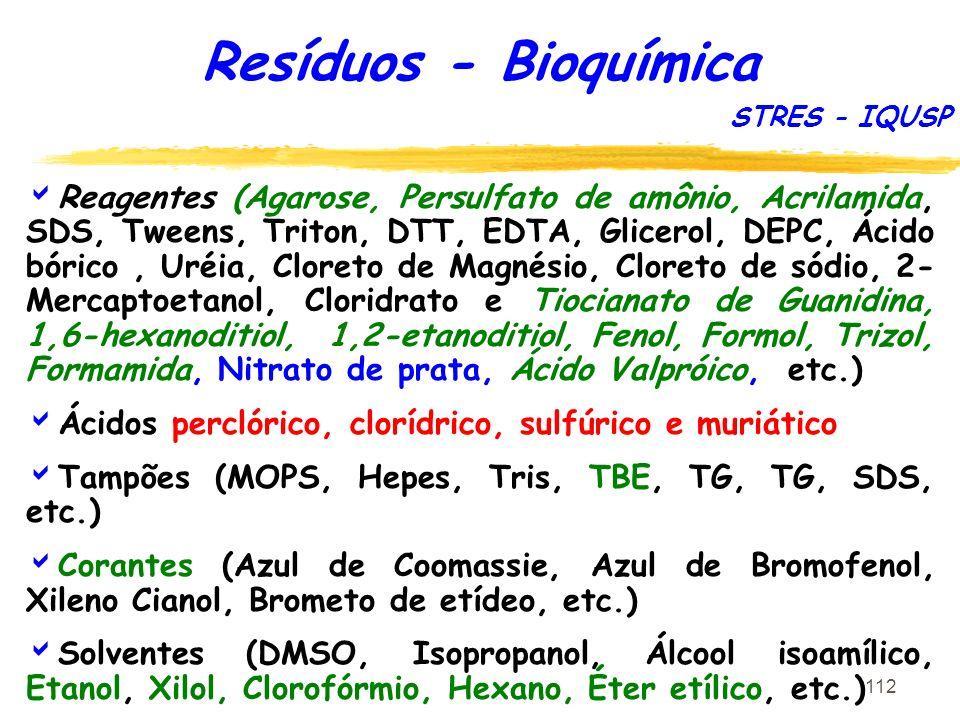 Resíduos - Bioquímica STRES - IQUSP.
