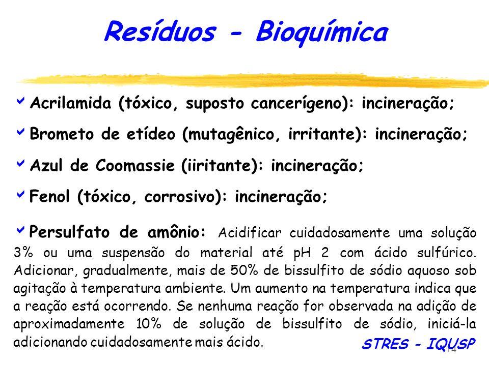 Resíduos - Bioquímica Acrilamida (tóxico, suposto cancerígeno): incineração; Brometo de etídeo (mutagênico, irritante): incineração;