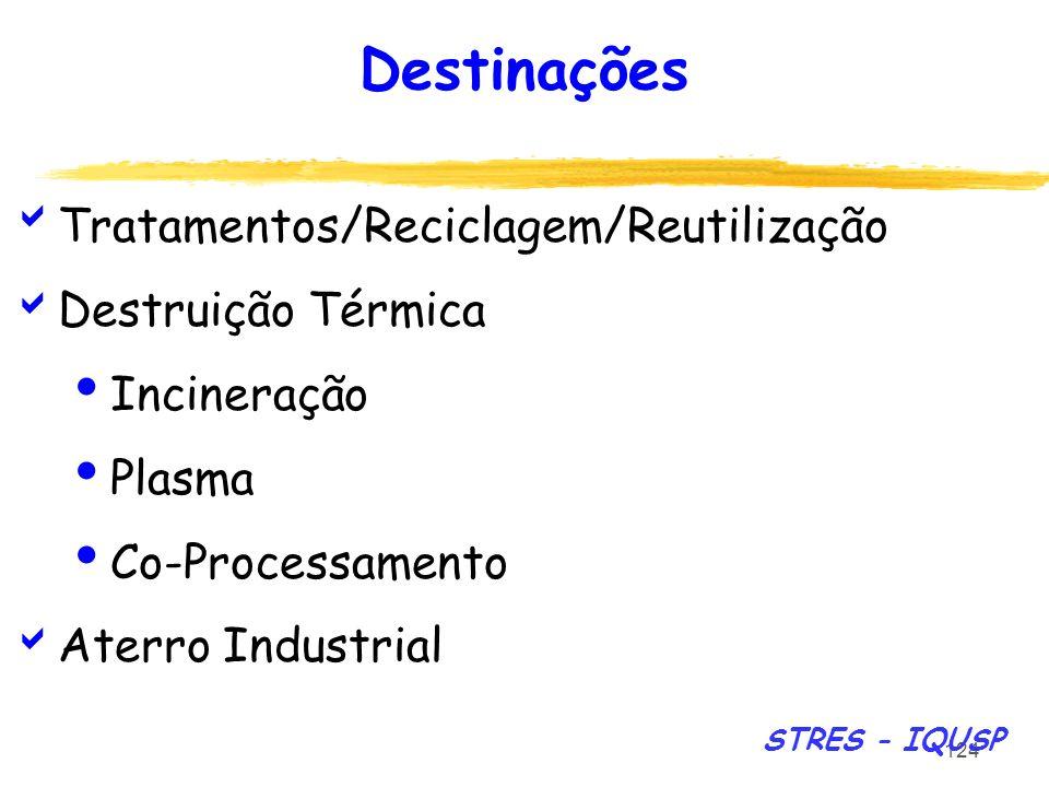 Destinações Tratamentos/Reciclagem/Reutilização Destruição Térmica