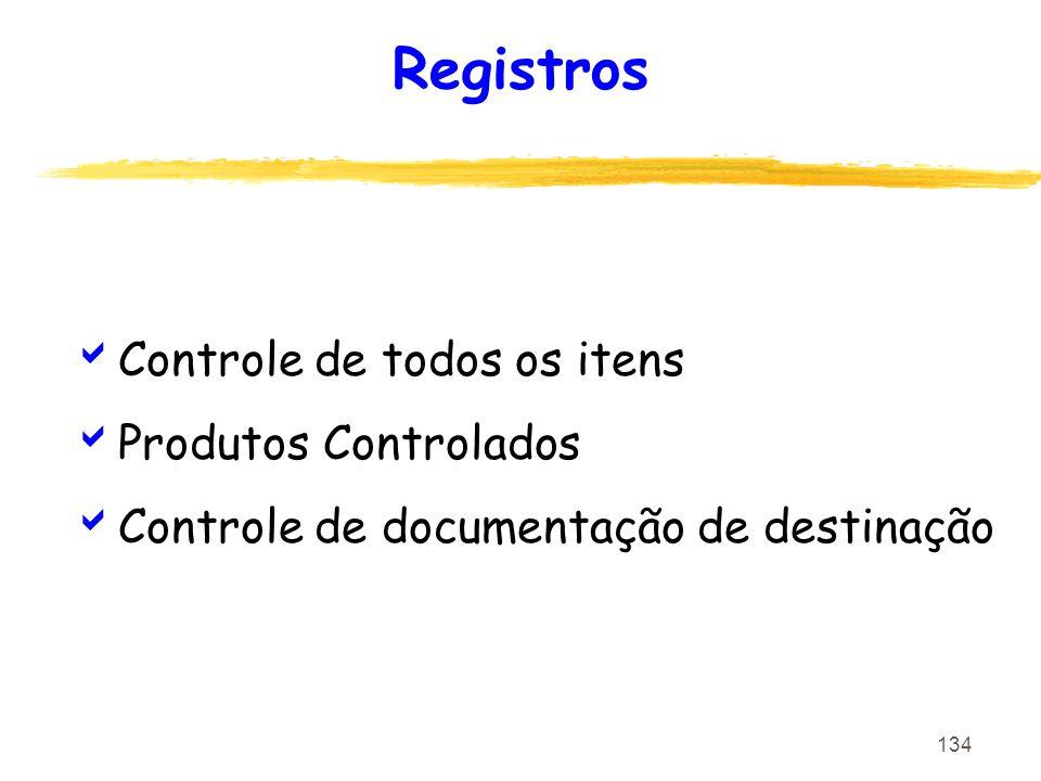 Registros Controle de todos os itens Produtos Controlados