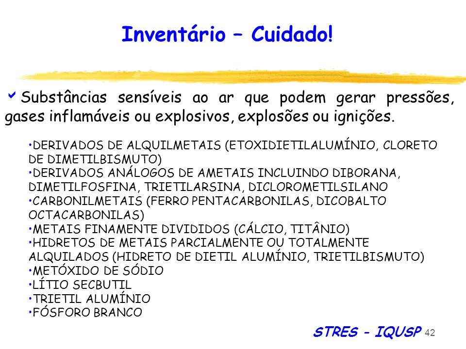 Inventário – Cuidado! Substâncias sensíveis ao ar que podem gerar pressões, gases inflamáveis ou explosivos, explosões ou ignições.