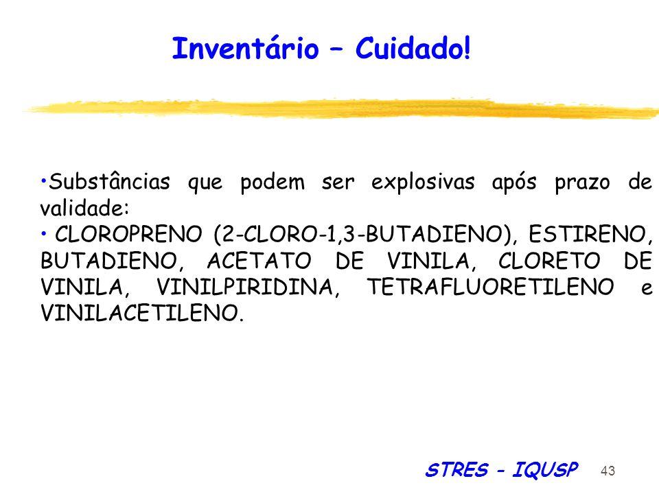 Inventário – Cuidado! Substâncias que podem ser explosivas após prazo de validade:
