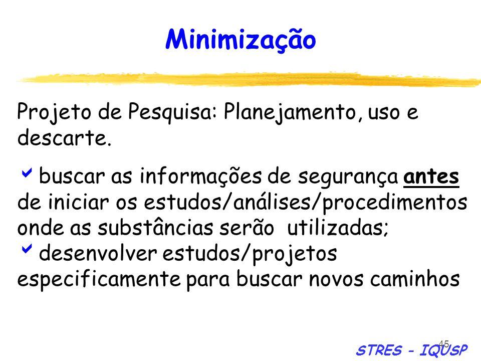 Minimização Projeto de Pesquisa: Planejamento, uso e descarte.