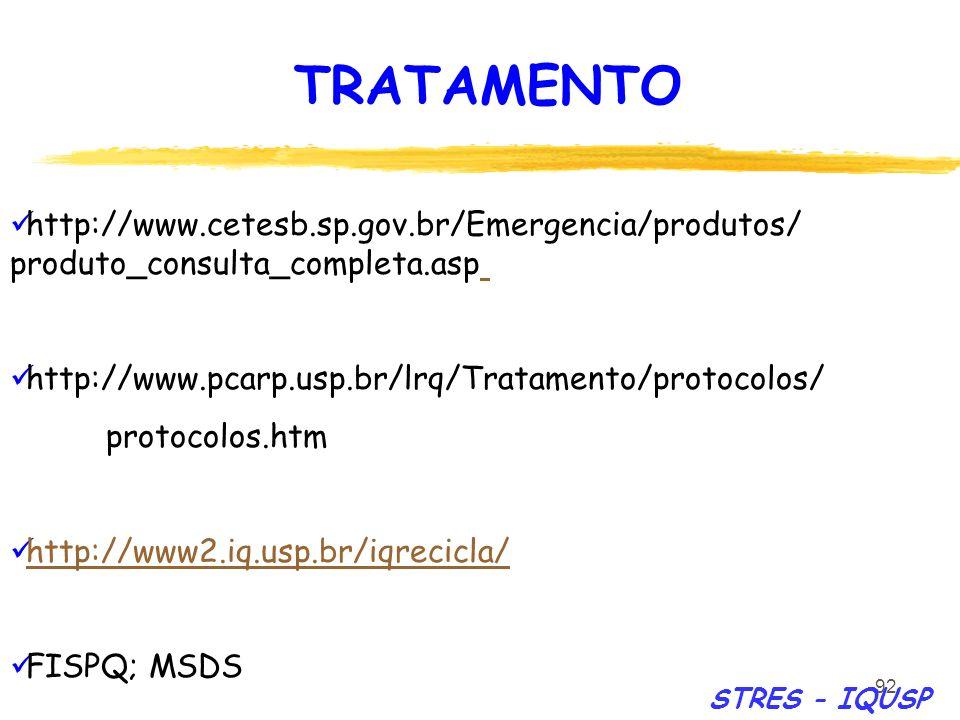 TRATAMENTO http://www.cetesb.sp.gov.br/Emergencia/produtos/