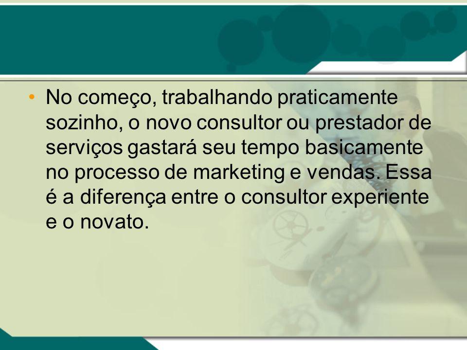 No começo, trabalhando praticamente sozinho, o novo consultor ou prestador de serviços gastará seu tempo basicamente no processo de marketing e vendas.