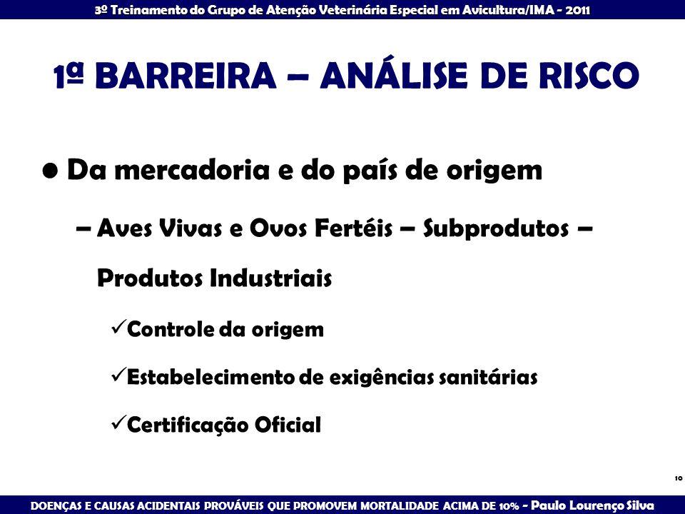 1ª BARREIRA – ANÁLISE DE RISCO