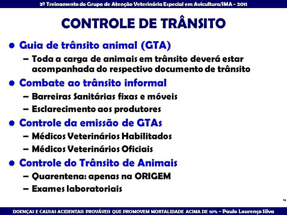 CONTROLE DE TRÂNSITO Guia de trânsito animal (GTA)