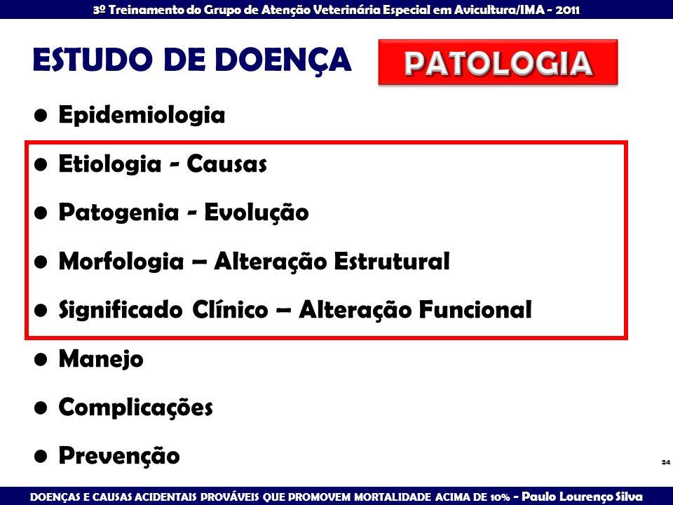 ESTUDO DE DOENÇA PATOLOGIA Epidemiologia Etiologia - Causas