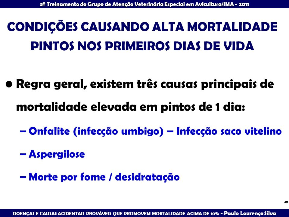 CONDIÇÕES CAUSANDO ALTA MORTALIDADE PINTOS NOS PRIMEIROS DIAS DE VIDA