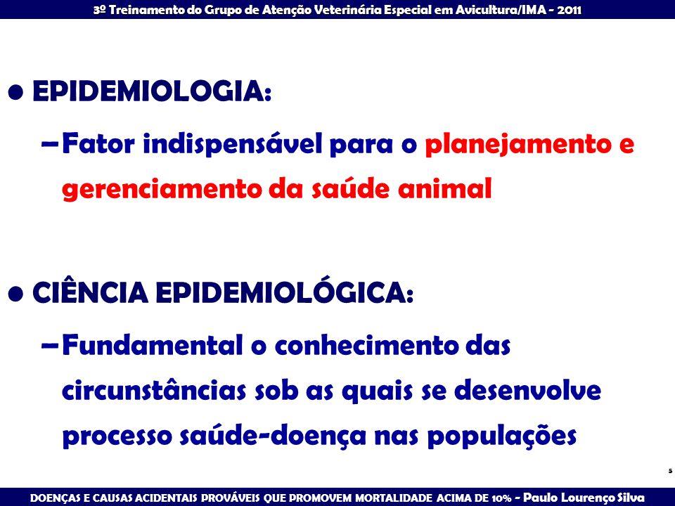EPIDEMIOLOGIA:Fator indispensável para o planejamento e gerenciamento da saúde animal. CIÊNCIA EPIDEMIOLÓGICA: