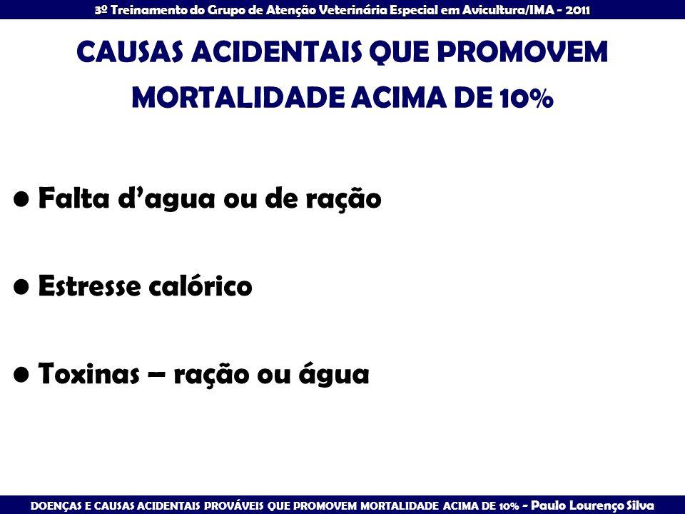 CAUSAS ACIDENTAIS QUE PROMOVEM MORTALIDADE ACIMA DE 10%