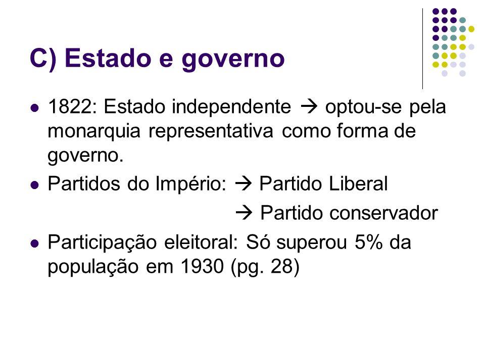 C) Estado e governo 1822: Estado independente  optou-se pela monarquia representativa como forma de governo.