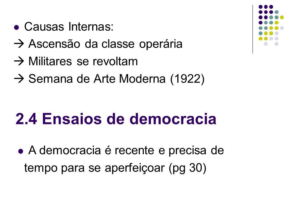 2.4 Ensaios de democracia Causas Internas: