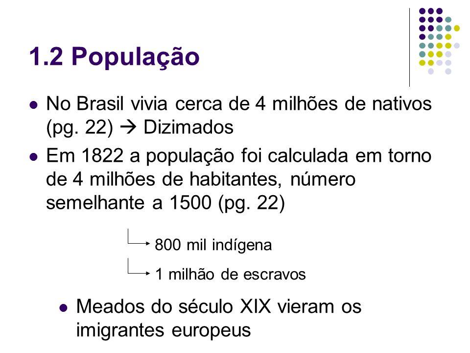 1.2 PopulaçãoNo Brasil vivia cerca de 4 milhões de nativos (pg. 22)  Dizimados.