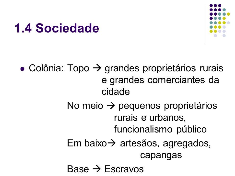 1.4 Sociedade Colônia: Topo  grandes proprietários rurais e grandes comerciantes da cidade.