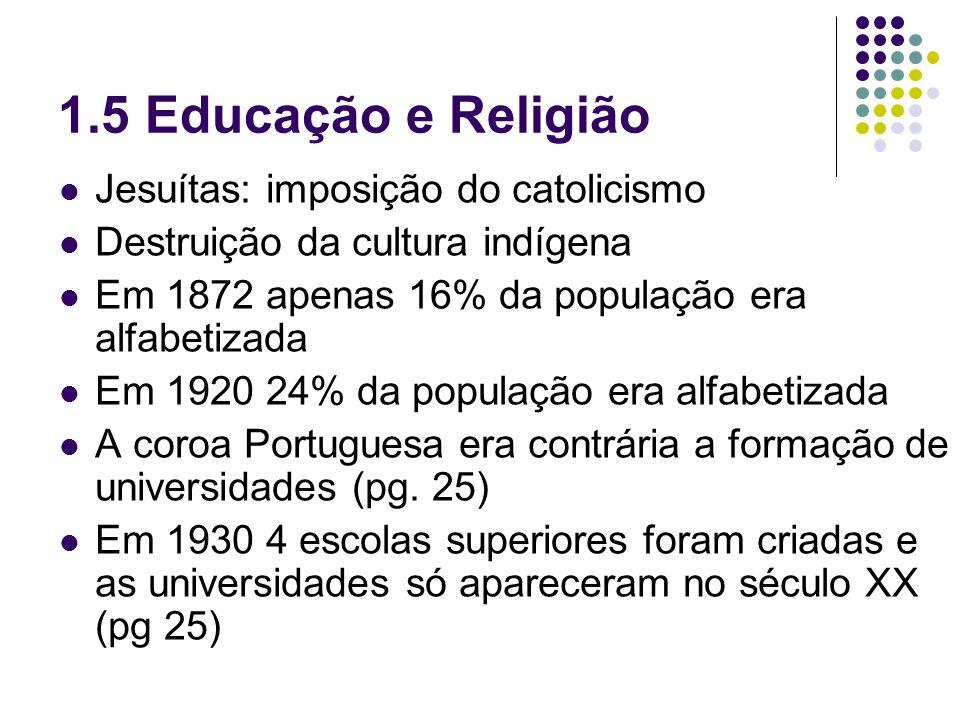 1.5 Educação e Religião Jesuítas: imposição do catolicismo