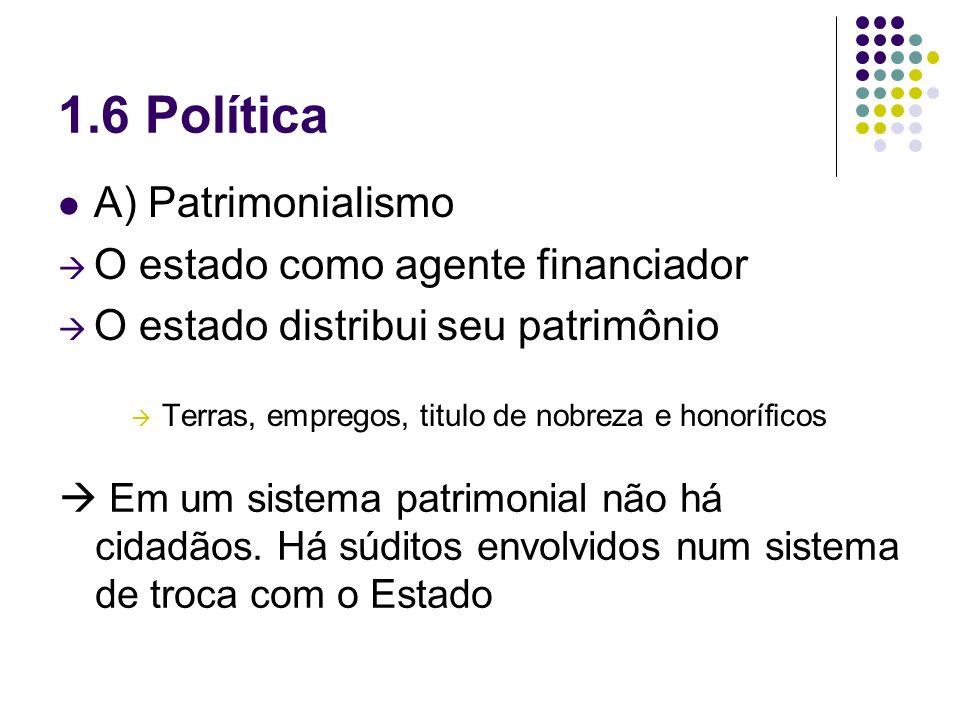 1.6 Política A) Patrimonialismo O estado como agente financiador
