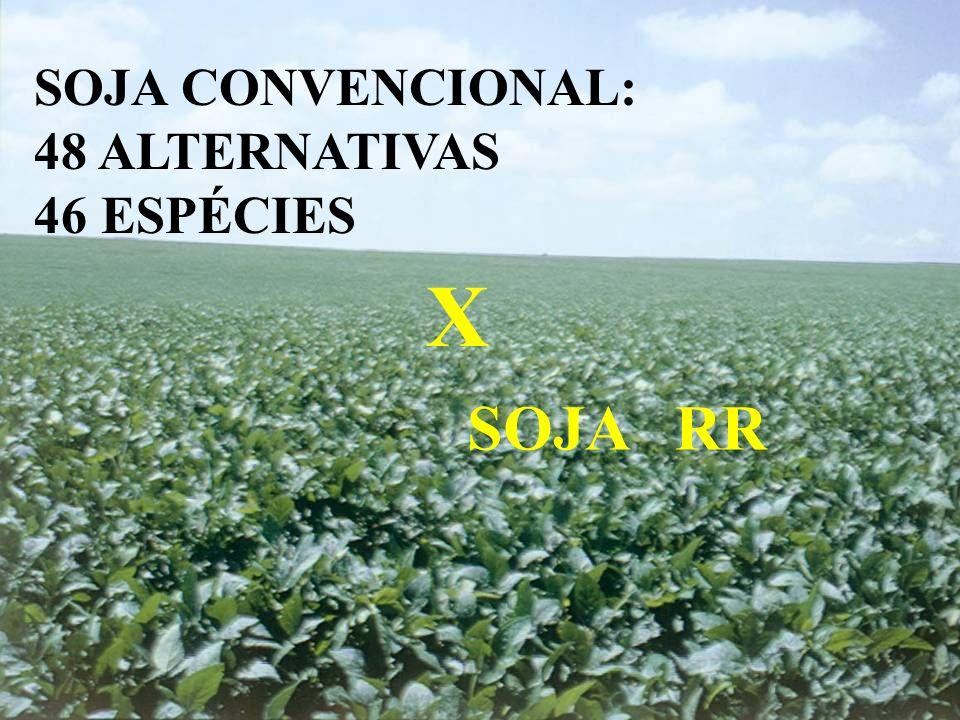 SOJA CONVENCIONAL: 48 ALTERNATIVAS 46 ESPÉCIES X SOJA RR