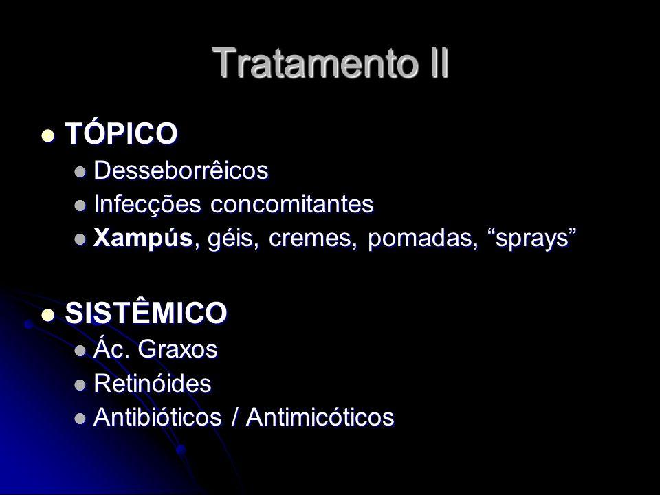 Tratamento II TÓPICO SISTÊMICO Desseborrêicos Infecções concomitantes