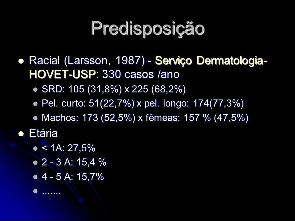 Predisposição Racial (Larsson, 1987) - Serviço Dermatologia- HOVET-USP: 330 casos /ano. SRD: 105 (31,8%) x 225 (68,2%)